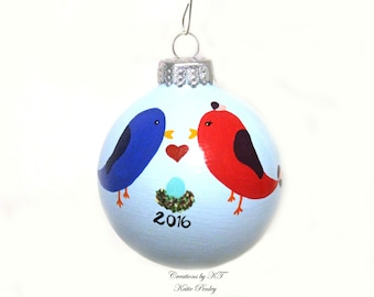 Love Birds Expecting New Baby Hand Painted Ornament Made to Order