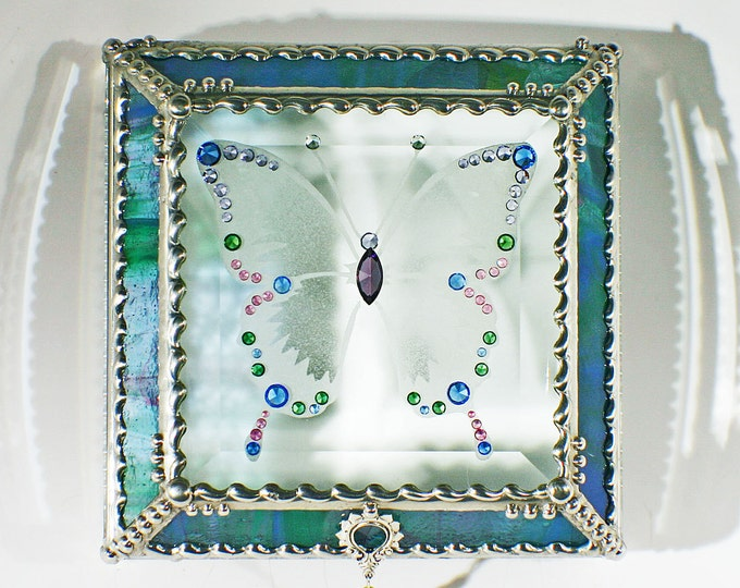 Jewel Encrusted Butterfly Treasure Box -5x5  Blue and Green Confetti