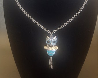 Turquoise Owl Pendant Necklace