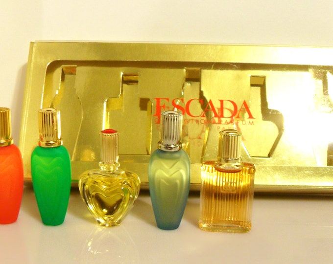 Vintage 1990s Escada Five Piece Assorted Mens & Womens Perfume Cologne Gift Set