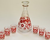 Mid Century Vintage Decanter and Glasses Set