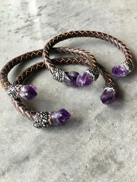 Amethyst Leather cuff bracelet, February Birthstone. Raw crystal, Amethyst Bracelet
