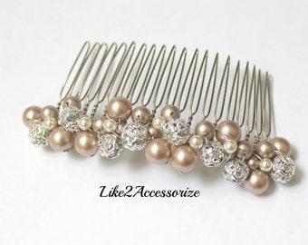 Bridal Pearl Comb White Ivory Comb Bridal Hair Comb Wedding Hair Comb Bridal Headpieces Rhinestone Hair Comb Bridal Wedding Hair Accessories