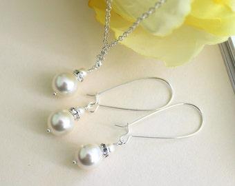 Swarovski Pearl Earring Necklace Set, Bridal Earring, Bridal Jewelery, Long Hoop Dangle Earrings, Bridesmaid Necklace Set, Wedding Gift Set