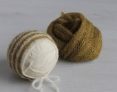 On SALE Ready to Ship Newborn photo prop Knit mohair wrap knit bonnet set Newborn boy photo prop Stretch knit mohair wrap Brown photo props