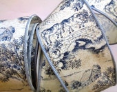"""Wide Toile Wired Ribbon, Blue, 2 1/2"""" inch wide, 1 yard, For Home Decor, Gift Baskets, Victorian & Romantic Crafts"""