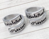 Best Friend Rings - BFF Rings - Matching Friendship Rings - Unbiological Sisters Rings - Step Sister Rings - Hand Stamped - Set of 2 Rings