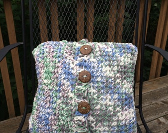 Crocheted Buttoned Pillow Cover Handmade in USA