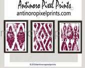 Watercolor Ikat Wine White Pictures, - Set of (3) - 8x10 Wall Art Prints - Custom Colors Sizes Available (UNFRAMED) #272685402