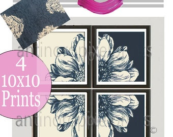 Floral Green/ Blue 3025 Ivory Flower Wall Art Picture Collection - Set of (4) -10 x 10 Prints  (UNFRAMED) Custom Colors Available #228557679