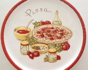 Vintage Stovit Pizza Platter, Stoviglierie Italy Pizza Plate, restaurant platter, Italian serving platter, pizza party plates, ceramic plate
