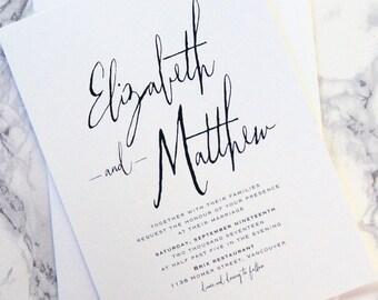 LETTERPRESS SAMPLE | Letterpress Wedding Invitation | Invitation | Large Names Invitation | Simple Invitation | Modern Calligraphy Invite