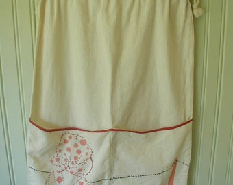 Vintage Hand Made Laundry Bag, Hand Embroidered, 1940's, Laundry Room Decor, Laundry Organizer