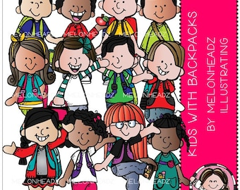 Kids with Backpacks clip art - Combo Pack