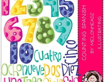 Counting clip art - Spanish