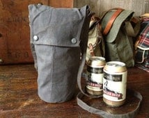 Vintage Waxed Canvas Beer Bag ~ BYOB Tote ~ Outdoor Picnic Hiking Camping Fishing Hunting ~ Beverage Carrier
