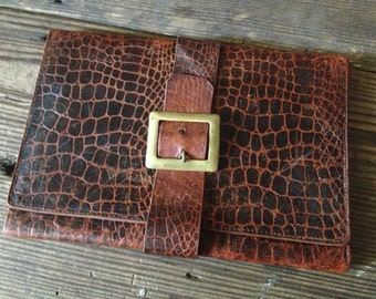 English Stamped Leather Writing Case Folio Small Portfolio Case Brown Brass Buckle