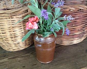 English Stoneware Jar Crock Pot Flower Vase Utensil Holder Kitchenalia