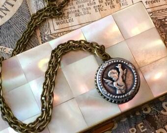 Vintage Cherub Angel Petite Button Necklace