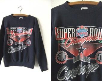 Dallas Cowboys Vintage Sweatshirt - 1992 Super Bowl Champions NFL Football Throwback Jumper