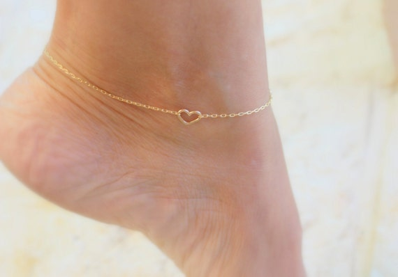 Gold Heart Anklet Silver Anklet Beach Jewelry Gold Ankle