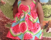 Watermelon Sundress and Matching Shoes for American Girl