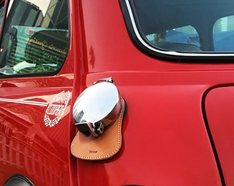 Personalized Fuel Bib For Classic Mini, Tan Leather, Free Shipping