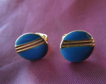 Vintage Clip Earrings, Small Gold Tone with Blue Enamel.  Excellent Condition