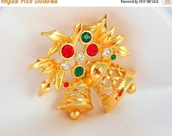 Biggest Sale Ever Christmas Brooch by AVON Joyous Bell Gold with Green and Red Rhinestones