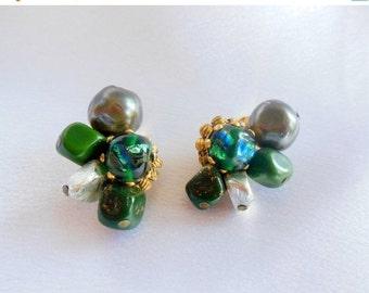Biggest Sale Ever Vintage Earrings Signed Hattie Carnegie Bead Cluster Clip