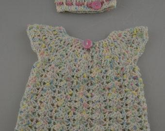 Crochet Baby Dress and Bonnet