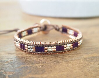 Purple crystal wrap bracelet