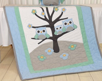 Owl Baby Blanket Woodland Quilt Forest Crib Bedding,  Owl Nursery Decor, Blue, Teal, Gray