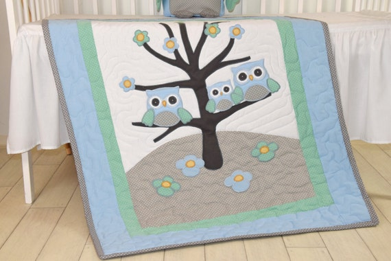 Owl Baby Blanket Woodland Quilt Forest Crib Bedding,  Owl Nursery Decor, Blue, Teal, Gray