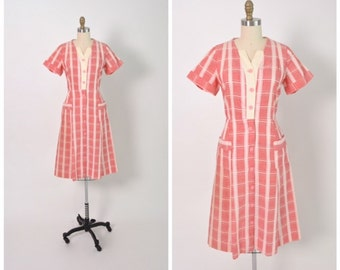 Vintage 1950s 50s Cotton Day Dress Pink and White Plaid