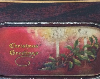 SALE!!!-Antique CANCO Christmas Greetings Hinged Candy Tin,