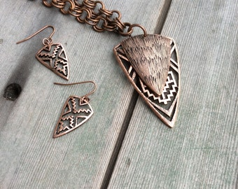 Tribal Triangle Jewelry Set/Southwestern/Copper