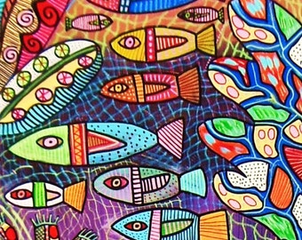 Belize Great Barrier Reef )( SILBERZWEIG ORIGINAL PAINTINGS-Ocean, Tropical Fish, Coral, Ecology, Sustainability,Conservation, Biodiversity