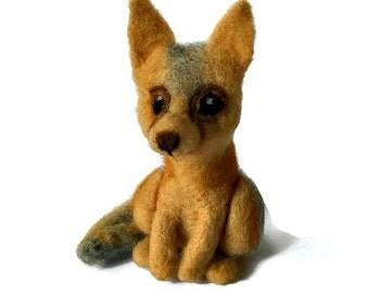 Swift Fox Sculpture Totem, Needle Felted Fox Miniature Plush