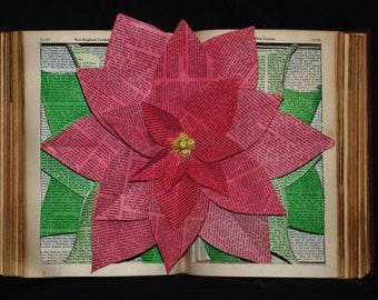 Poinsettia Book Sculpture