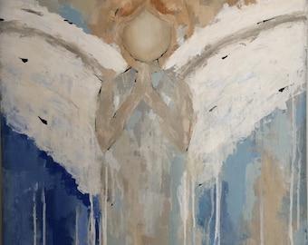 Original angel painting, guardian angel painting, palette knife painting, angel art, original abstract painting, blue