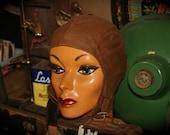 Vintage Buco Tan Cotton Motorcycle Aviator Pilot Cap Hat Size Medium