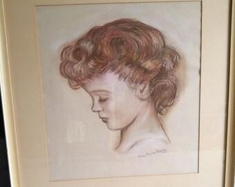Original Pastel Girl Portrait, Signed, Dated 1948, 23 x 26 Framed