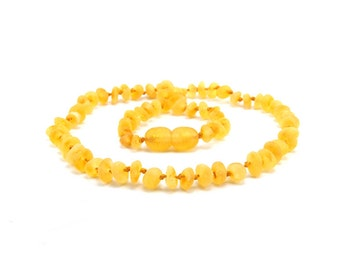 Baltic Amber Necklace for Child Unpolished Beads