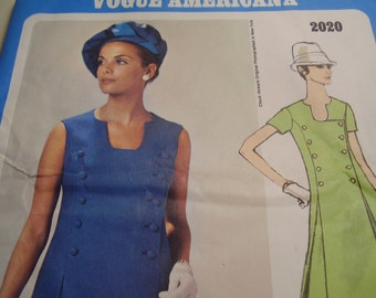 Vintage 1960's Vogue 2020 Americana Chuck Howard Mod Dress Sewing Pattern, Size 8, Bust 31 1/2