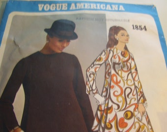 Vintage 1960's Vogue 1854 Americana James Galanos Mod Dress Sewing Pattern, Size 10, Bust 32 1/2