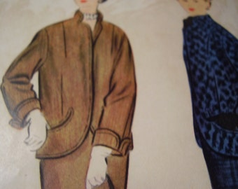 Vintage 1950's McCall's 9887 Suit Sewing Pattern, Size 16, Bust 32