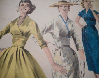 Vintage 1950's Butterick 7982 Empire Dress Sewing Pattern, Size 12 Bust 32