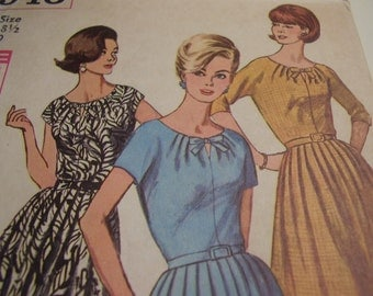 Vintage 1960s Simplicity 5940 Dress Sewing Pattern, Size 18 1/2, Bust 39