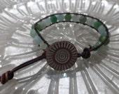Amazonite Antiqued Dark Brown Leather Bracelet